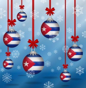 34566124 - ilustration christmas background flags cuba