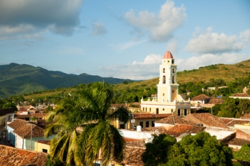 Famous Cuban city Trinidad with old church tower convent of saint assisi.